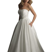 Allure Bridals 8771 Simple Strapless Pleated Taffeta Wedding Dress