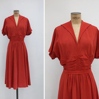 1940s Dress - Vintage 40s Rust Orange Dress - Oxido Dress