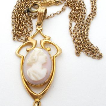 Victorian Angel Skin Coral Cameo Gold Lavalier Necklace
