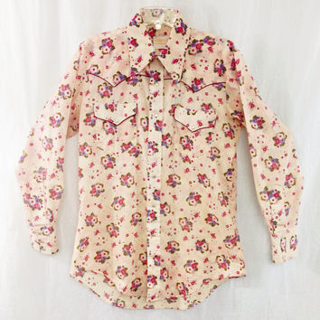 Vintage 80s MILLER Stockman Denver Floral Western Rocker Men Shirt