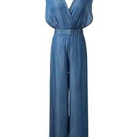 Blue Plunge Wrap Front Halter Backless Wide Leg Palazzo Jumpsuit