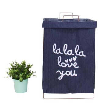 Wire Fold Laundry Hamper Blue Jeans Color with Letters