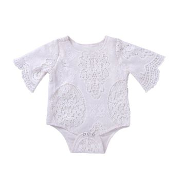 Lovely Newborn Infants Baby Girls Lace Bat Sleeve O-neck Toddler Bodysuit Romper Jumpsuit Outfits Daily Wear