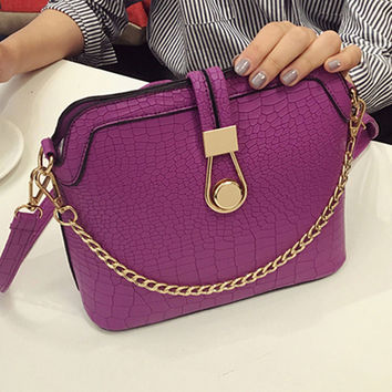 Vintage Crocodile PU Leather Women Bag Chain Strap Top-handle Bags Small Fashion Crossbody Bag