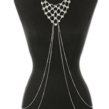 Body Chain Layered Crystal Stone Bib Necklace And Chunky Link Curb Chain