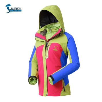 Protective Brand 2016 New Two-Piece Suits Waterproof Hiking Softshell Jacket Men Women and Thermal Cotton-padded Clothes Outdoor