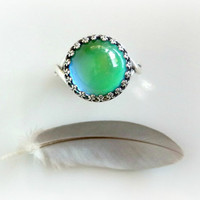 Sterling Silver Mood Ring - Boho Thumb Ring - Color Changing Adjustable Ring - Antique Style Crown Ring - Hippie Style Mood Ring
