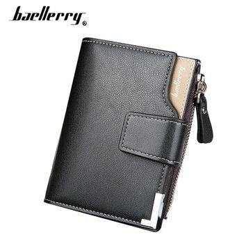 Baellerry Small Men Wallets Leather Men's Wallet Male Purse Men Clutch Bags Coin Purse Credit Card Holder bolsos Hasp Money Bags