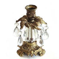 Lovesky and Lovesky Gold Metal and Glass Candlestick Prisms Loevsky L&L WMC 1973 French Rococo