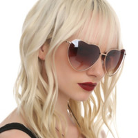 Oversized Heart Gold Tone Wire Sunglasses