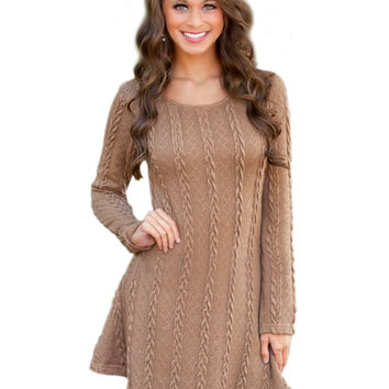 Fashion winter dress  Autumn Women Dress Casual Fall Dresses Long Sleeve Sexy Knitted Dress RetroTwist Bandage Vestidos S-XL