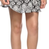 Lunachix Black & White Tribal Skater Skirt