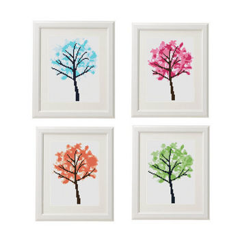 Tree cross stitch pattern tree watercolour Set of 4 four seasons subversive cross stitch pattern nature counted cross stitch pattern modern