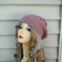 Crochet Beret, Slouchy Beanie Hat, Knit Womens Hat, Winter Accessories, Fall Fashion, Choose Your Color
