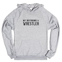 My Boyfriends A Wrestler-Unisex Heather Grey Hoodie