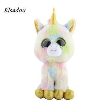 Elsadou Ty Beanie Boos Stuffed & Plush Animals New Ice Cream Color Unicorn Toy Doll