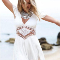White V-Neck Open Back Romper