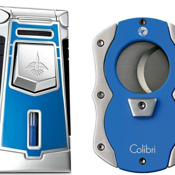 Colibri Empire Blue Lighter and Cut Blue Cigar Cutter Gift Set