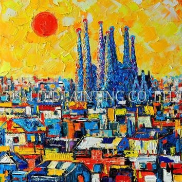 Artist Design and Hand-painted High Quality Abstract Barcelona Oil Painting on Canvas Beautiful Spain Landscape Oil Painting