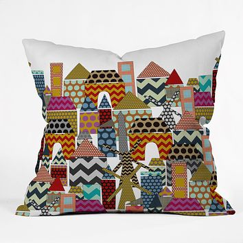 Sharon Turner Geo Town Throw Pillow