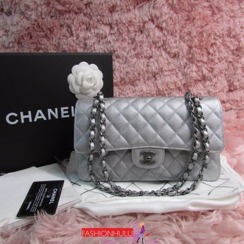 RARE 2017 Excellent /CHANEL 2.55 Silver Caviar Medium Flap Bag Ruthenium