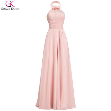 Robe De Soiree Grace Karin Blush Pink Bridesmaid Dresses Halter Long Chiffon Gowns Junior Bridesmaid Dress For Wedding Guests