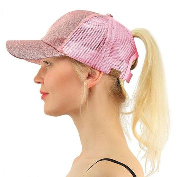 Hot Sale Summer CC Glitter Ponytail Baseball Snapback Cap Dad Hats for Women Caps Messy Bun Cotton Sports Mesh Trucker Hat