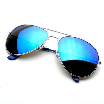 Blue Reflective Classic Premium Revo Flash Full Mirrored Aviator Sunglasses