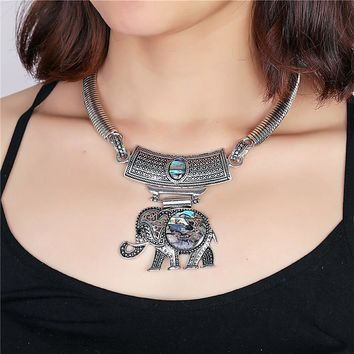 Bohemian Elephant Abalone Shell Pendant Statement Choker Necklace - antique tribal ethnic boho