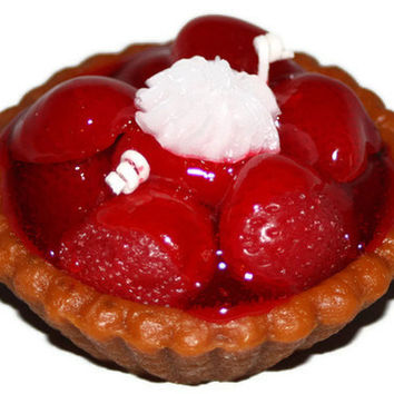 Strawberry Pie Candle, Dessert Candle, Highly Scented Realistic Bakery Candle, Wax Food