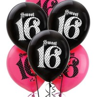 Latex Super Stylish Sweet 16 Balloons 12in 6ct- Party City