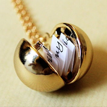 PRE ORDER - Shiny Gold Secret Message Locket - Vintage Brass Ball Locket Necklace -New Edition