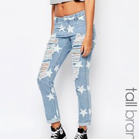 Noisy May Tall Star Print Ripped Boyfriend Jean