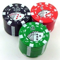 Poker Chip Herb Grinder Color May Vary