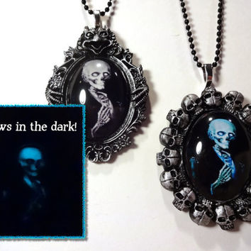 Glow in the Dark Gothic Skeleton Cameo Necklace - 1 Custom Victorian Creepy Skull Cameo - You choose Color and Setting Style