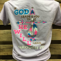 Southern Chics Feather Cross God Leads You to it & Through it Girlie Bright T Shirt