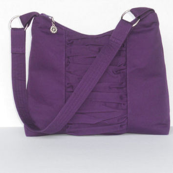 Made to Order / Medium Zipper Top Purse / Handbag / Hobo Bag / Shoulder Bag / Crossbody Bag / Purple Cotton Twill Exterior