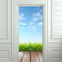 Door STICKER landscape cloud grass village exit natural mural decole film self-adhesive poster 30x79inch(77x200 cm)