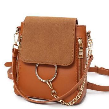 Retro Suede & Leather Mini Backpack Chain Purse