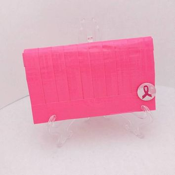 Neon Pink Clutch Bag, Inspirational Purse, Breast Cancer Awareness Gift
