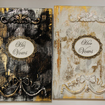 Black and White Vow Books, Vow Books, Wedding Books, His and Hers, Mr and Mrs Wedding Vow Books, Rococo Booklets, Authentic French Vow Books