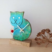 Blue cat clock, ceramic wall clock of turquoise blue and green cat, unique, handpainted, sitting cat clock, nursery clock, vet's clock