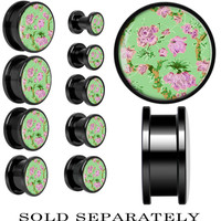 Mint Green Vintage Floral Screw Fit Plug in Anodized Black Titanium | Body Candy Body Jewelry