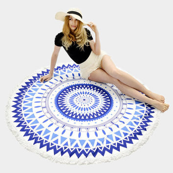 Blue & White Aztec Pattern Terry Towel Multi-way Round Beach Throw with Tassel Trim Beach blanket / Beach towel / Wrap / Rug