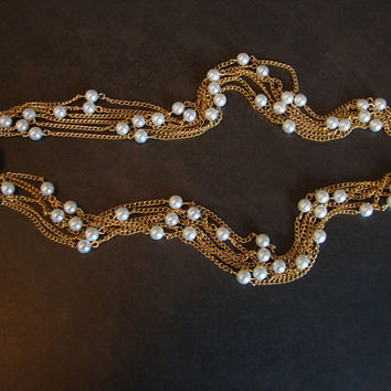 Vintage Multi Strand Pearl and Gold Tone Necklace