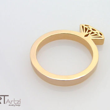 Diamond shaped gold ring, Diamond silhouette ring, Diamond shape ring, Diamond form, Diamond ring, Gold diamond ring