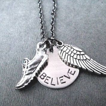 RUN BELIEVE FLY Necklace - Nickel pendant and pewter charms priced with Gunmetal Chain