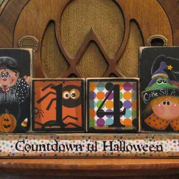 Halloween Countdown Blocks - Count Dracula and Witch with Frog Halloween Decor