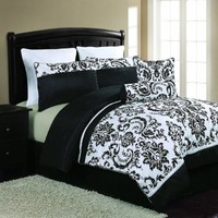 VCNY Daniella 8-Piece Flocked Comforter Set, Black/White, Queen