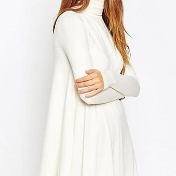 West Indies Long Sleeve Mock Neck Swing Dress - Ivory